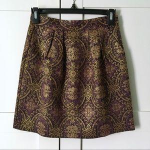 BB DAKOTA High Waist Jacquard Skirt Gold Metallic